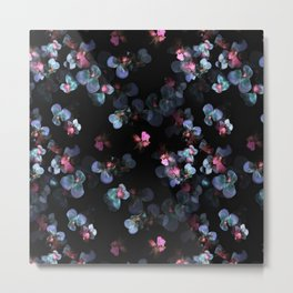 Blue pink delicate flowing pansies Metal Print