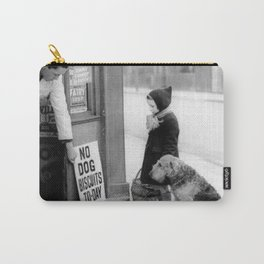 Vintage 'No Dog Biscuits Today' Humorous Little Girl, Dog, and Italian Market black and white photography / photograph Carry-All Pouch