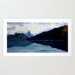 In synergy of sky, clouds, mountains and lake Art Print