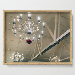 White Chandelier Serving Tray