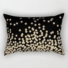 Gold glitter dots scattered on black background Rectangular Pillow