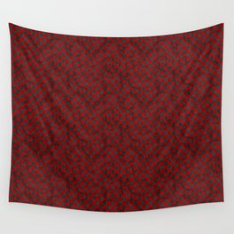 Retro Check Grunge Material Red Black Wall Tapestry