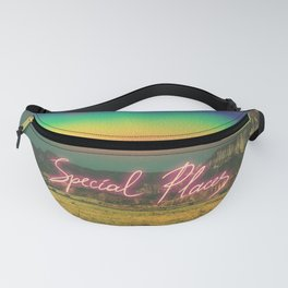 Special Places.Mountains and rainbow. Text Fanny Pack