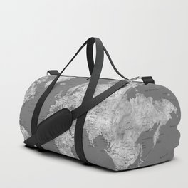 Dark gray watercolor world map with cities Duffle Bag