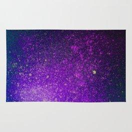 """Purple Stars Paint splatter on Deep Blue """"Dream On"""" Rug"""