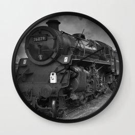 Steam tran, mono image Wall Clock