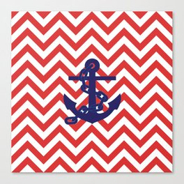 Blue Anchor on Red and White Chevron Pattern Canvas Print