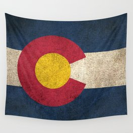 Old and Worn Distressed Vintage Flag of Colorado Wall Tapestry