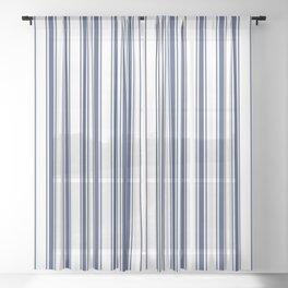 Blue vertical ticking lines Sheer Curtain