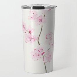 Pink cherry flowers painting, Floral Decor Travel Mug