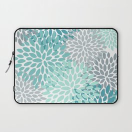 Floral Pattern, Aqua, Teal, Turquoise and Gray Laptop Sleeve