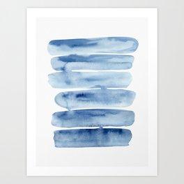 Blue Lines | Watercolor Painting Art Print