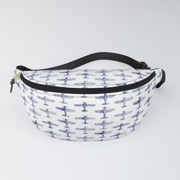 Blue Watercolor Airplanes Fanny Pack