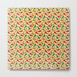 Hot Peppers Doodle Pattern - Taco Series Metal Print