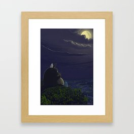Totoro playing the ocarina Framed Art Print