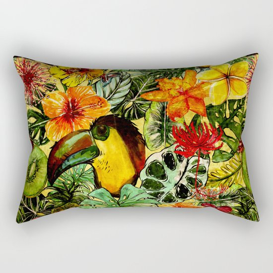 Tropical Vintage Exotic Jungle Flower Flowers - Floral watercolor pattern on #Society6 Rectangular Pillow