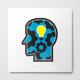 Head with Light Bulb and Cog Retro Metal Print