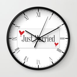 Just Married Plaque Wall Clock