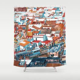 Sevilla buildings extended view Shower Curtain