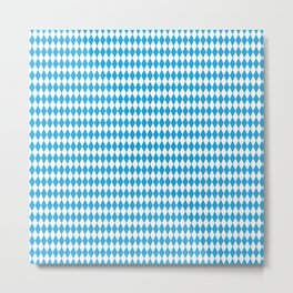 Oktoberfest Bavarian Blue and White Medium Diagonal Diamond Pattern Metal Print