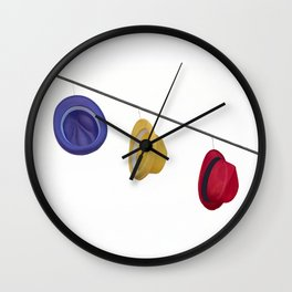 isolated colorful hats hanging at the party Wall Clock