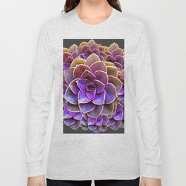 PURPLE-CREAM SUCCULENT ROSETTES Long Sleeve T-shirt