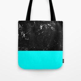 Aqua Blue Meets Black Marble #1 #decor #art #society6 Tote Bag