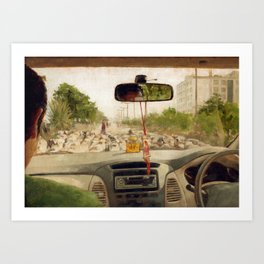 Driving in Car on Road Blocked by Flock of Sheep Urban Cityscape in India Travel Art Print