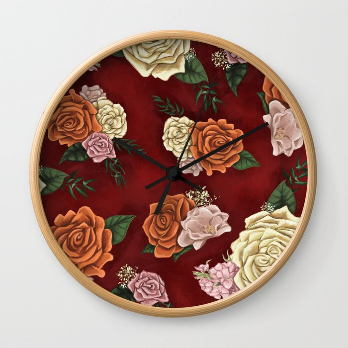 Red luxury flowers Wall Clock