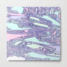 Purple Crazy Hand Drawn Pattern Metal Print