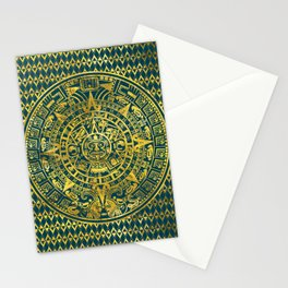 Gold  Aztec Inca Mayan Calendar Stationery Cards
