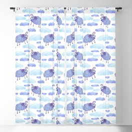 cute sheep and clouds pattern Blackout Curtain