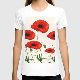 GRAPHIC RED POPPY FLOWERS ON WHITE T-shirt
