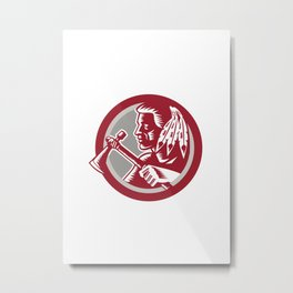 Native American Tomahawk Warrior Circle Metal Print