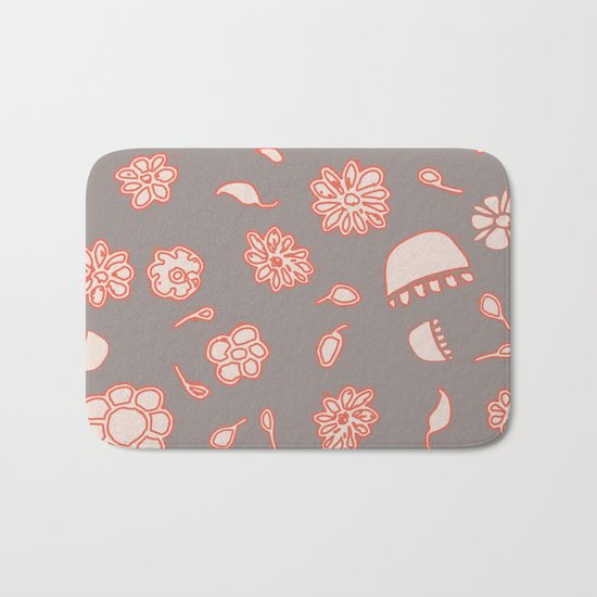 floral black and red Bath Mat