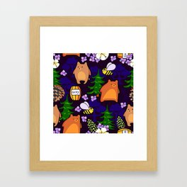 bears and bees in the forest Framed Art Print
