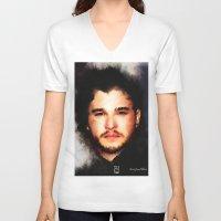 john snow V-neck T-shirts featuring Kit Harrington aka John Snow by André Joseph Martin