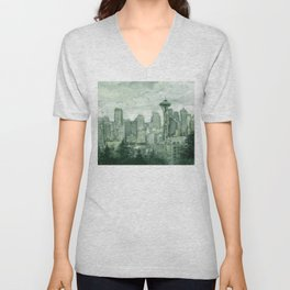 Seattle Skyline Watercolor Space Needle Emerald City 12th Man Art Unisex V-Neck