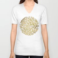 coral V-neck T-shirts featuring Gold Coral by Cat Coquillette