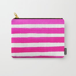Pink Watercolor Stripes Carry-All Pouch