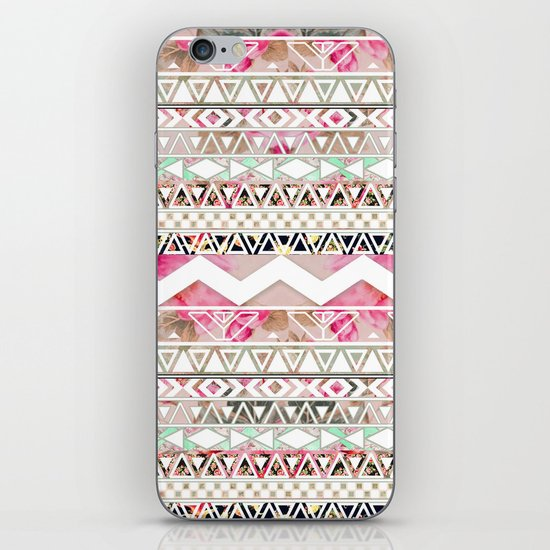 Aztec Spring Time! | Girly Pink White Floral Abstract Aztec Pattern iPhone & iPod Skin