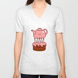 tea with cake Unisex V-Neck