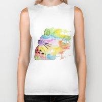rainbow Biker Tanks featuring My Rainbow Totoro by scoobtoobins