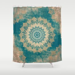 GOLD BOHOCHIC MANDALA IN GREENS Shower Curtain