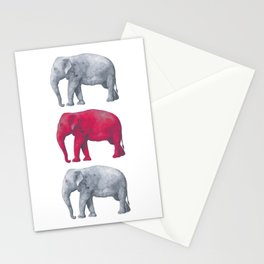 Elephants Red Stationery Cards