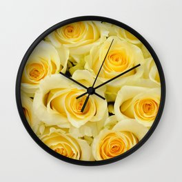 soft yellow roses close up Wall Clock