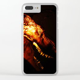 Tyrannosaurus Rex dinosaur in light. Clear iPhone Case