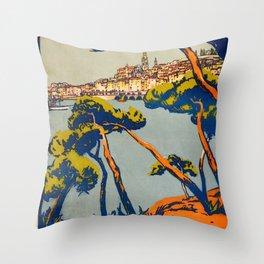 Vintage poster - Menton Throw Pillow