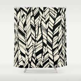 black and white feather texture Shower Curtain