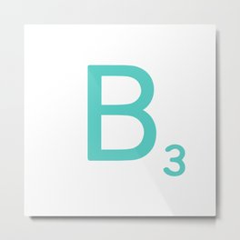 Custom Blue Scrabble Letter B Metal Print